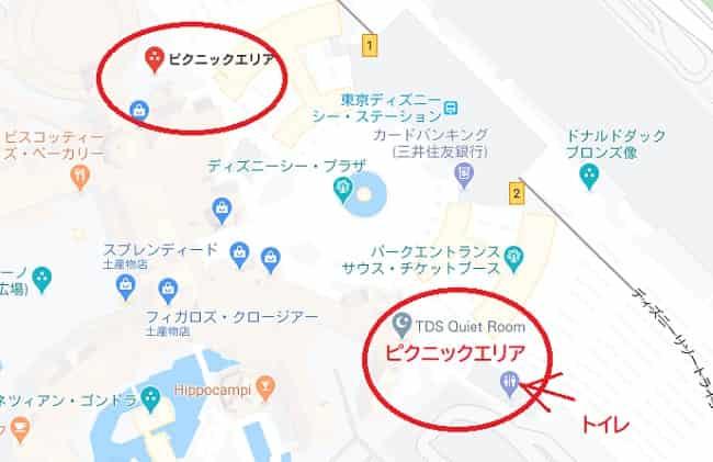 東京ディズニーシー ピクニックエリアの場所「